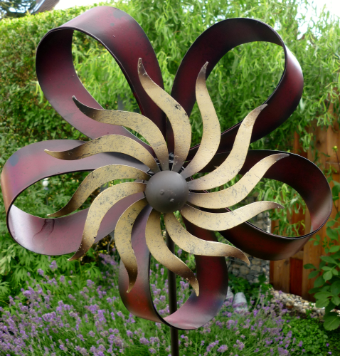 windspiel gartenstecker windrad garten metall blume. Black Bedroom Furniture Sets. Home Design Ideas